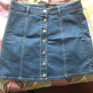 MinkPink Button Front Denim Skirt, Size Large